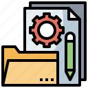 business, document, file, finance, folders, pencil, project icon