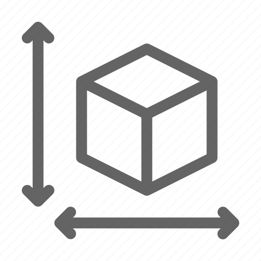 3d, cube, scale icon