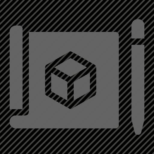 3d, prototype, sketching icon