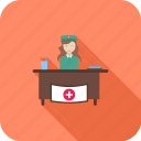 care, healthcare, hospital, medical, reception, receptionist icon
