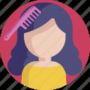 feminine, hygiene, hair, comb, beauty