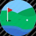 golf, flag, hole, ball, sports