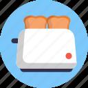 kitchen, tools, toaster, bread, breakfast