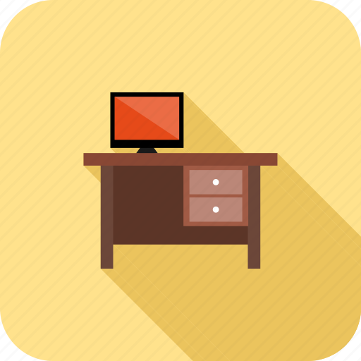 desk, screen, table, workplace icon