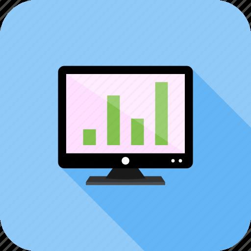 analytics, graph, screen, statistics icon