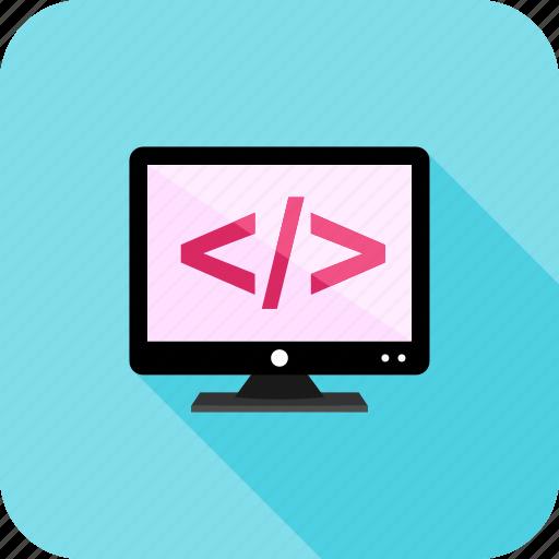coding, html, programming, screen icon