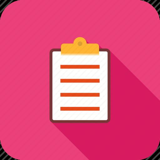 clipboard, document, file, list, paper, report icon