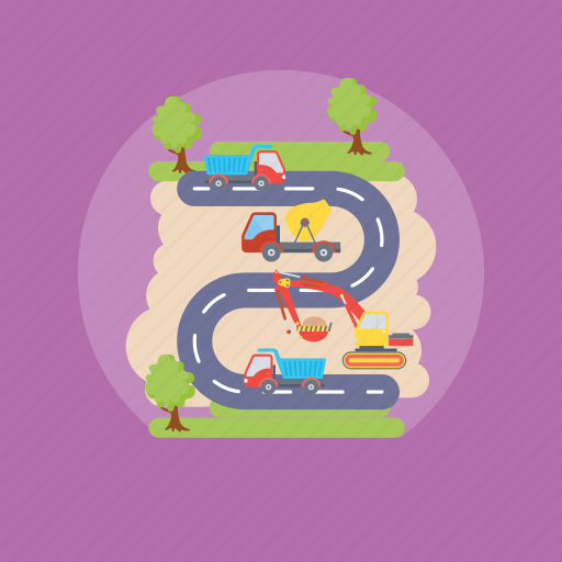 construction, construction site, road construction, road engineering, road mapping icon