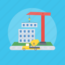 building construction, construction, crane, engineering, manufacturing building icon