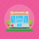 clinic, dispensary, drug store, hospital, medical building, medical store icon