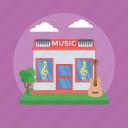instruments shop, music shop, music store, shop building, shop exterior icon