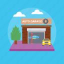 auto garage, auto service, car garage, car maintenance shop, mechanical services icon