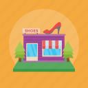 apparels, shoe shop, shoe store, shoewear shop, shop building, shop exterior icon
