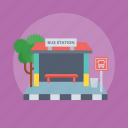 bus station, station, station building, transport place, vehicle parking place icon