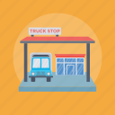 bus stop, truck garage, truck parking, truck stop, vehicle stop icon