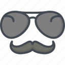 glasses, mustache, police, service, work icon