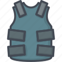 armor, police, protection, service, vest, work icon