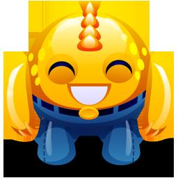 happy, monster, yellow icon