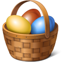 basket, easter, eggs