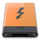 b, orange, thunderbolt icon