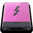 b, pink, thunderbolt icon