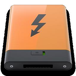 b, orange, thunderbolt icon