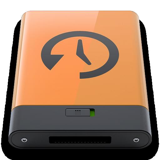 b, machine, orange, time icon