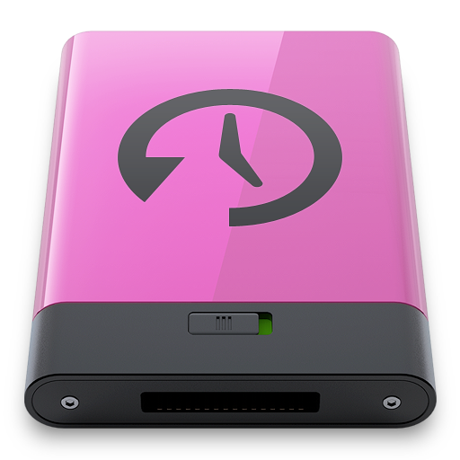 Pink, time, machine, disk icon
