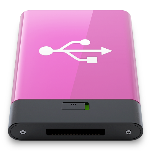 pink, usb, w icon