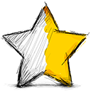half, right, star icon