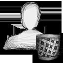 trash, user icon