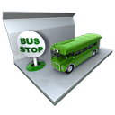 bus, public transportation, stop icon