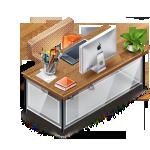 desk, furniture, workstation icon