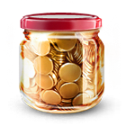 bottle, jar, money, savings icon