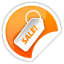 orange, sale, sticker icon