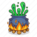 boil, cauldron, flame, halloween, witch icon