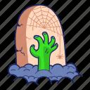 cemetery, grave, graveyard, tombstone, zombie icon