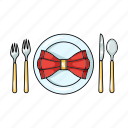 fork, plate, dishes, restaurant, napkin, spoon, knife
