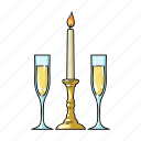 candle, champagne, glass, restaurant, table setting, white, wine icon