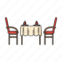 cafe, chairs, furniture, interior, restaurant, table, table setting icon
