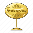 gold, plate, reserve, restaurant, service, table icon
