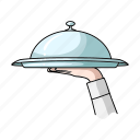 cap, cover, dish, restaurant, service, tray icon