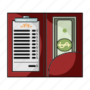 bill, cash, check, money, payment, restaurant icon