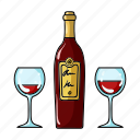 alcohol, bottle, drink, glass, red, restaurant, wine icon