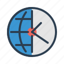 clock, globe, time management, world icon