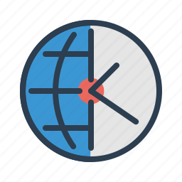 clock, globe, map, schedule, time, time management, world icon