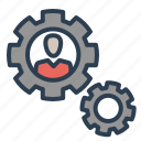 business, gear, leader, man, profile, settings, working icon