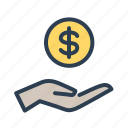 coin, hand, income, money icon