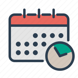 calendar, clock, month, project plan, schedule, timetable, watch icon