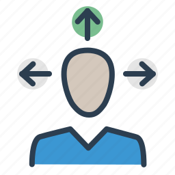 arrows, business ideas, direction, man, management, planning, solutions icon